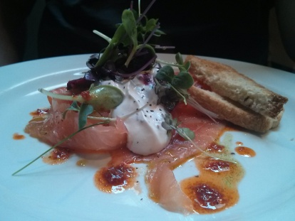 Smoked salmon, beetroot and horseradish cream