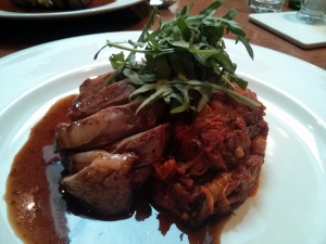 Lamp rump with spicy aubergine, mushroom & chick pea compote